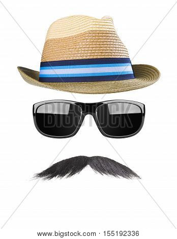 Straw hat, black moustache and elegant sunglasses