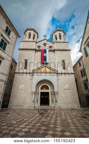 St. Nicholas church on St. Luke square in Kotor old town, Montenegro