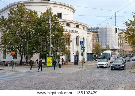 HELSINKI , FINLAND - OCTOBER 13, 2016: The Swedish theater on Mannerheim street in the city center of Helsinki. Helsinki is the capital of Finland.
