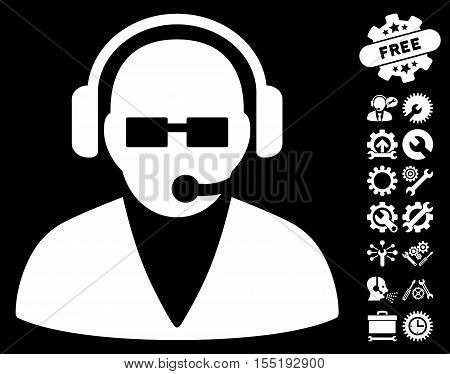 Support Operator pictograph with bonus setup tools pictograph collection. Vector illustration style is flat iconic symbols on white background.