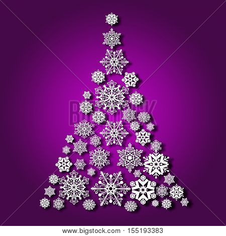 Christmas tree from snowflakes casts a shadow on purple background
