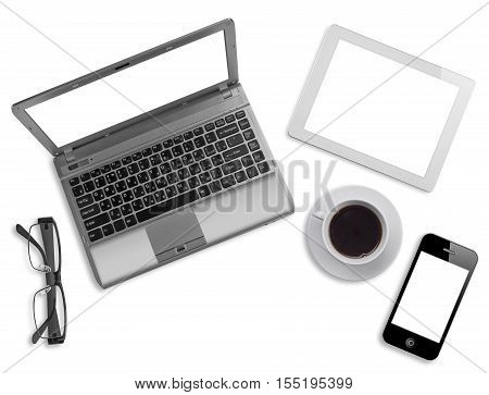 Various business computer devices glasses and coffee cup on white