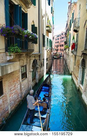 Gondola At Narrow Venice Canal