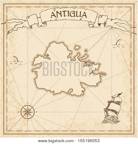 Antigua Old Treasure Map. Sepia Engraved Template Of Pirate Island Parchment. Stylized Manuscript On