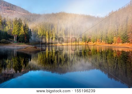 Lake In Foggy Spruce Forest In Mountains