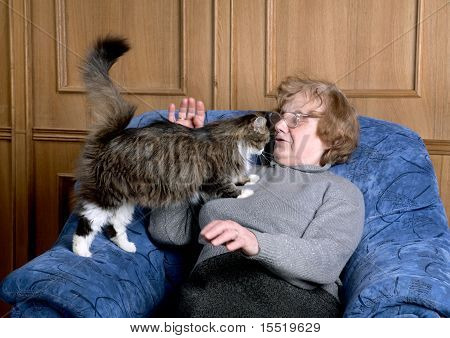 The Old Woman Stroke A Cat
