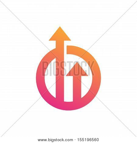 Arrows inside circle symbol represent growth and upgrade