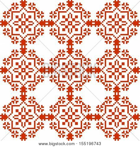 Slavic geometrical ornament. Seamless pattern in red color wiht ukrainian and russian traditional elements.