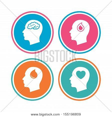 Head with brain icon. Male human think symbols. Blood drop donation sign. Love heart. Colored circle buttons. Vector