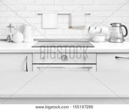 White laminated table on defocused rustic kitchen bench interior background