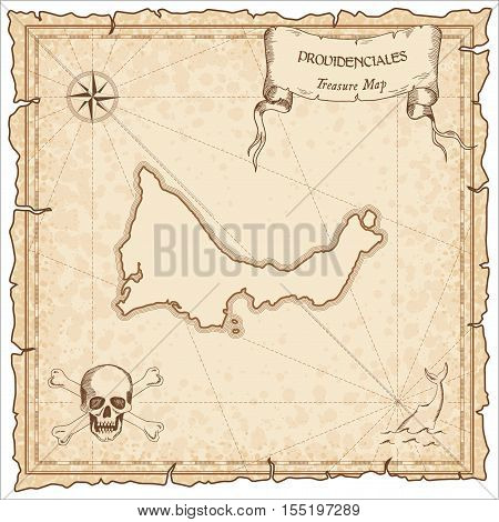 Providenciales Old Pirate Map. Sepia Engraved Parchment Template Of Treasure Island. Stylized Manusc