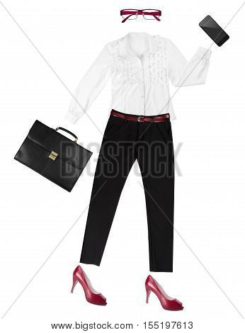 White-collar female worker essentials arranged as fancy human shape