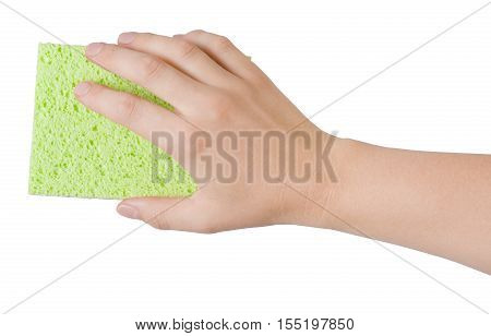 Woman hand holding green cleaning sponge isolated on white