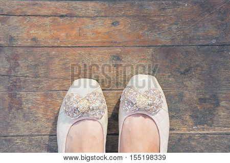 shoe women with wooden background dirty style and shoe women bow cute shoe young women shoe working women on wooden style
