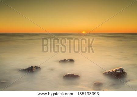 Sunset on the Baltic Sea near the Lithuanian resort of Palanga.