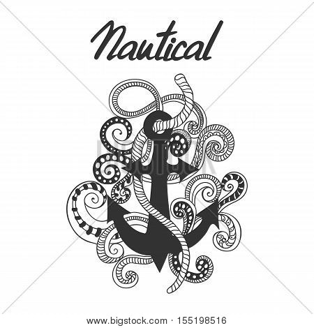 Hand drawn, doodled illustration of anchor, ropes and swirls. Nautical label with anchor