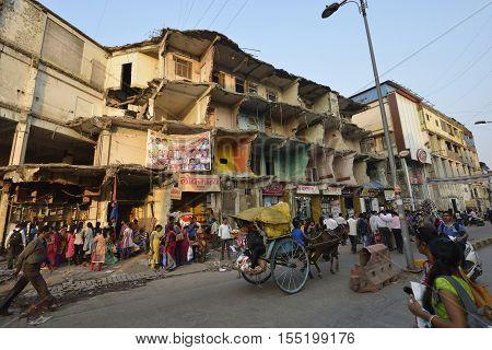 Mumbai, India - November 5, 2016: Abandoned demolished building at Shivaji Chowk market, Kalyan,Thane, India