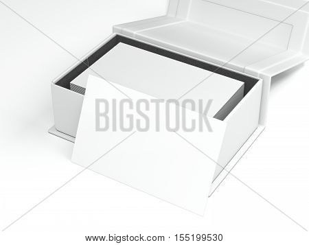 White package with stack of business cards on bright floor. 3d rendering