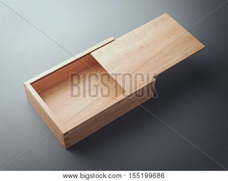 Opened wooden casket on a gray floor. 3d rendering