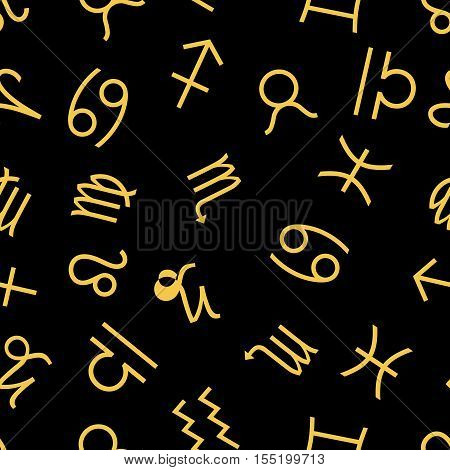 Seamless pattern Signs Of The Zodiac. Vector endless backdrop. Vector illustration