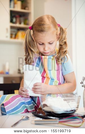 Cute Little Girl Preparing Christmas Sweets
