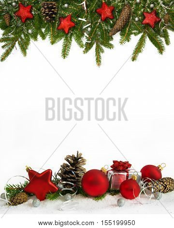 Christmas decoration four-fifths with balls stars cones and gift on white background.