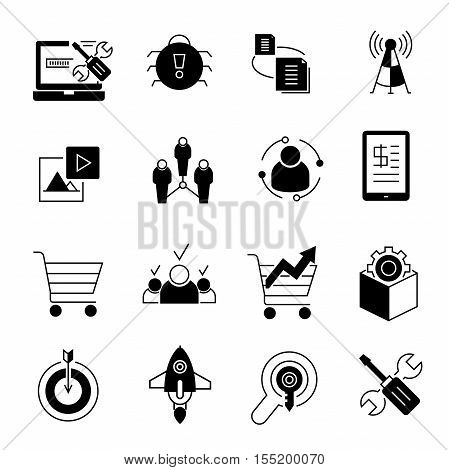 set of 16 seo and network icons