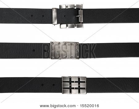 Black leather belts with buckles