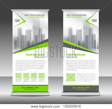 Green roll up business brochure flyer banner design vertical template vector, x-stand, flag-banner, advertisement template, flyer design