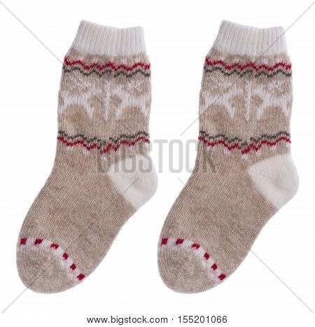 Woolen children socks isolated on white background