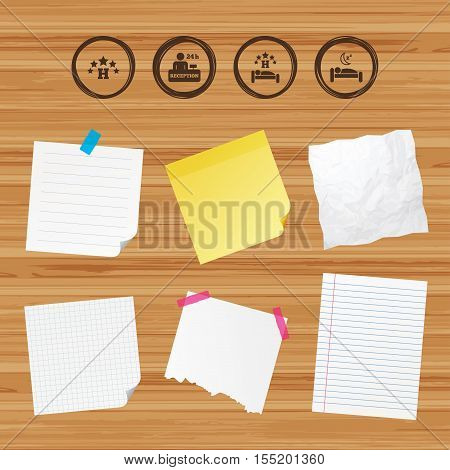 Business paper banners with notes. Five stars hotel icons. Travel rest place symbols. Human sleep in bed sign. Hotel 24 hours registration or reception. Sticky colorful tape. Vector
