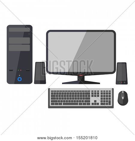 The modern desktop black computer with monitor, keyboard, mouse and sound system. Workstation in flat style. Illustration isolated on white background.
