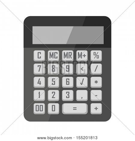 Calculator icon in flat style. Office electronic equipment with display and buttons. Concept illustration finance, accounting, mathematics technology for calculate. Vector isolated on white background