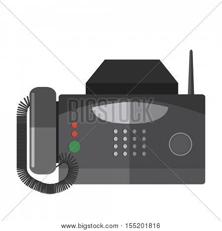 Fax machine. Office connection equipment: phone, digital fax receiver. Business icon of telephone fax. Vector illustration in flat style isolated on white background.