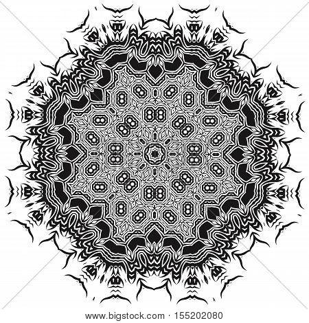 Ornamental Mandala Silhouete Isolated on White Background