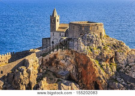 Portovenere San Pietro Church. Five lands Cinque Terre Liguria Italy Europe.
