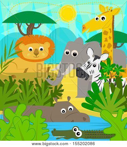 Cute cartoon baby animals at the safari. Eps10