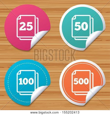 Round stickers or website banners. In pack sheets icons. Quantity per package symbols. 25, 50, 100 and 500 paper units in the pack signs. Circle badges with bended corner. Vector