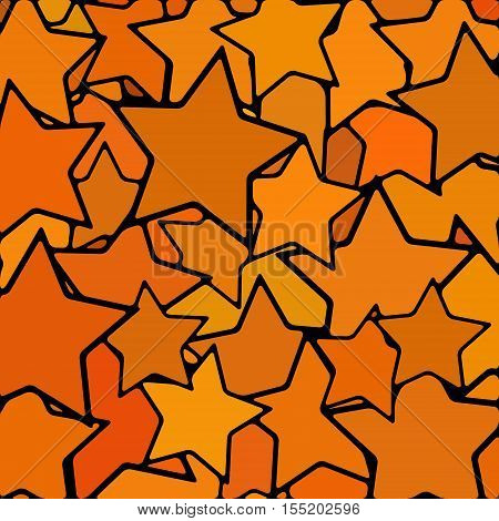 abstract vector stained-glass mosaic background - orange stars