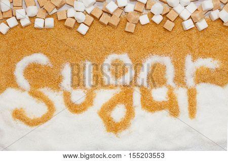 Unhealthy food concept - sugar. Sugar is not good for health.