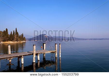 Lago di Garda (Garda Lake) in spring near the town of Garda in Veneto Verona Italy Europe