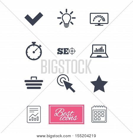Internet, seo icons. Bandwidth speed, online shopping and tick signs. Favorite star, notebook chart symbols. Report document, calendar icons. Vector