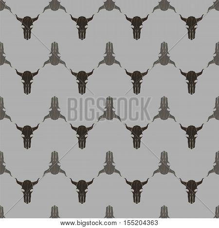 Bull Skull Silhouette Seamless Pattern. Animal Background.