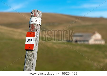 Wooden pole with red and white trail sign (number 256) in the Regional Natural Park of Lessinia Veneto Verona Italy Italian Alps