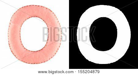 O- letter from pink felt. Collection of colorful handmade English alphabet isolate on white background with alpha mask