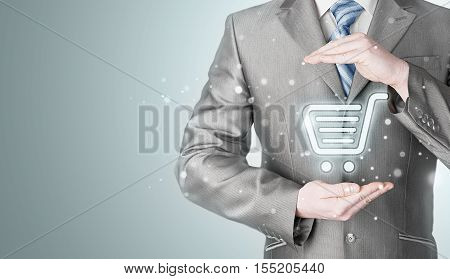Consumer protection concept. Safety and insurance of trade and goods. Online marketing.
