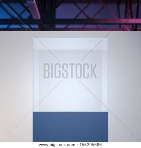 Bright modern showcase in loft interior with white walls. 3d rendering