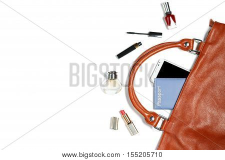 Woman bag stuff isolated on white background with copyspace