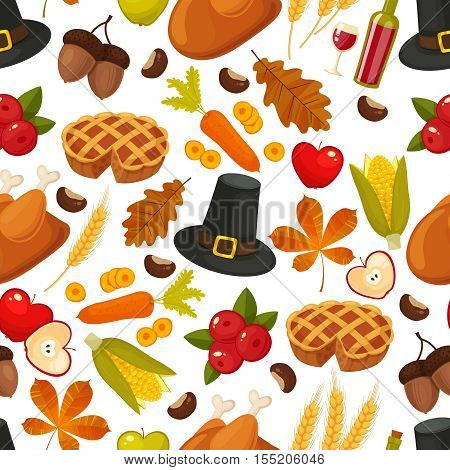 Traditional Thanksgivin day seamless background. Symbols of thanksgiving and family traditions elements for holiday design isolated on white background. Retro cartoon style vector illustration