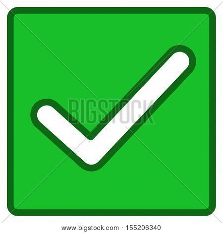 Valid Checkbox interface toolbar pictogram. Vector pictogram style is a flat symbol with contour edges.